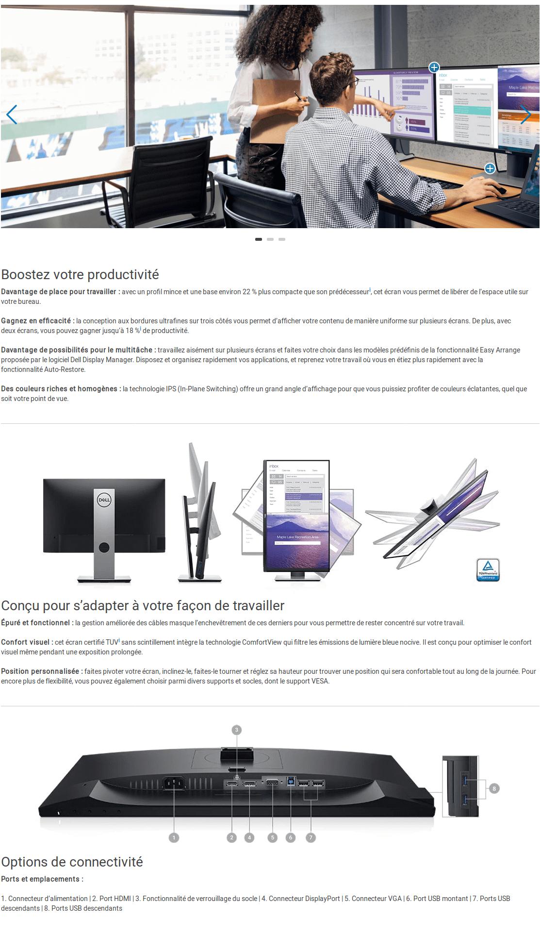 """Écran Dell 21,5"""" Full HD P2219H (P2219H-3Y) Fiche technique"""