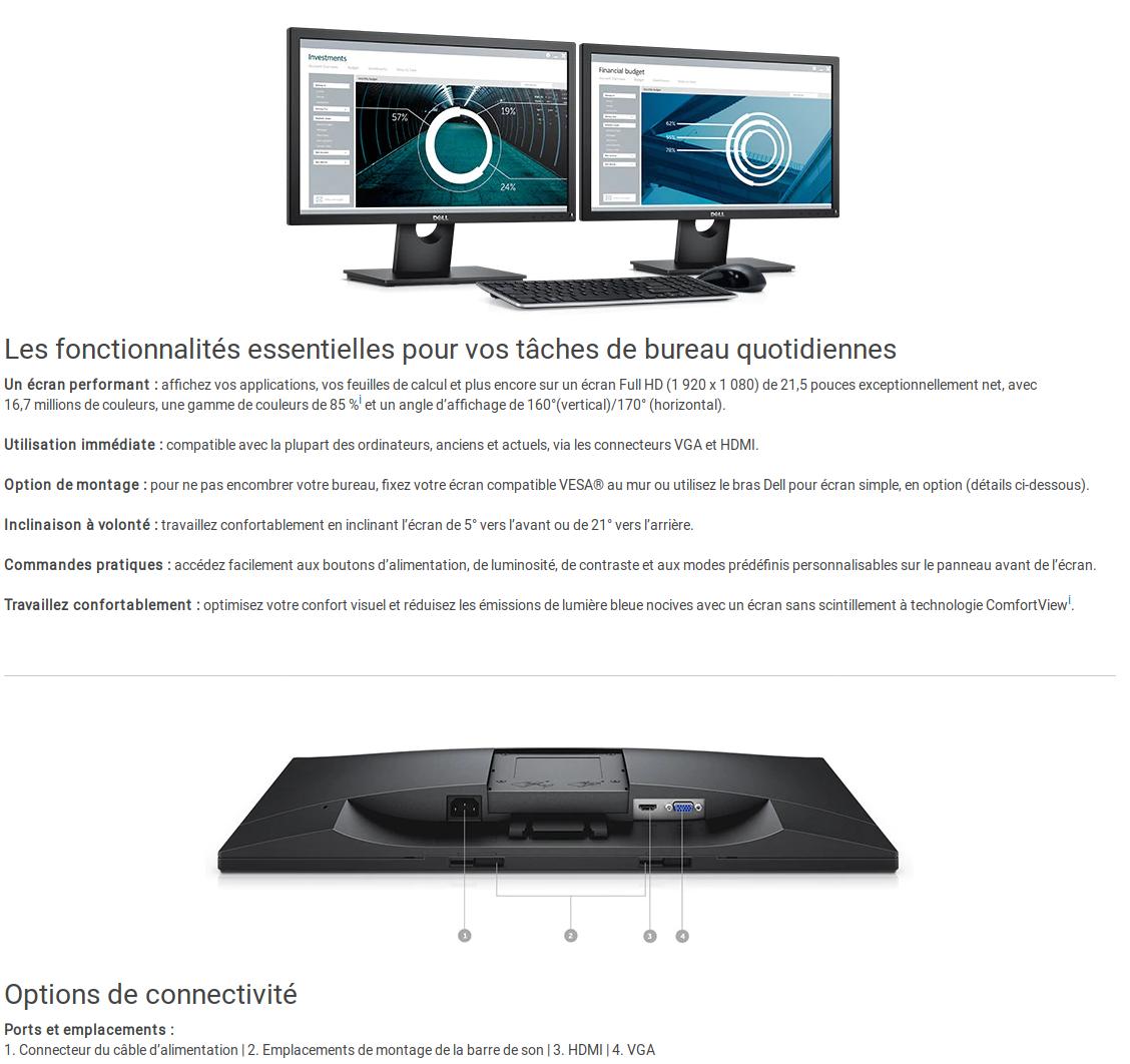 "Ecran PC Dell 22 - E2218HN -  21.5"" Noir (E2218HN-3Y) Fiche technique"