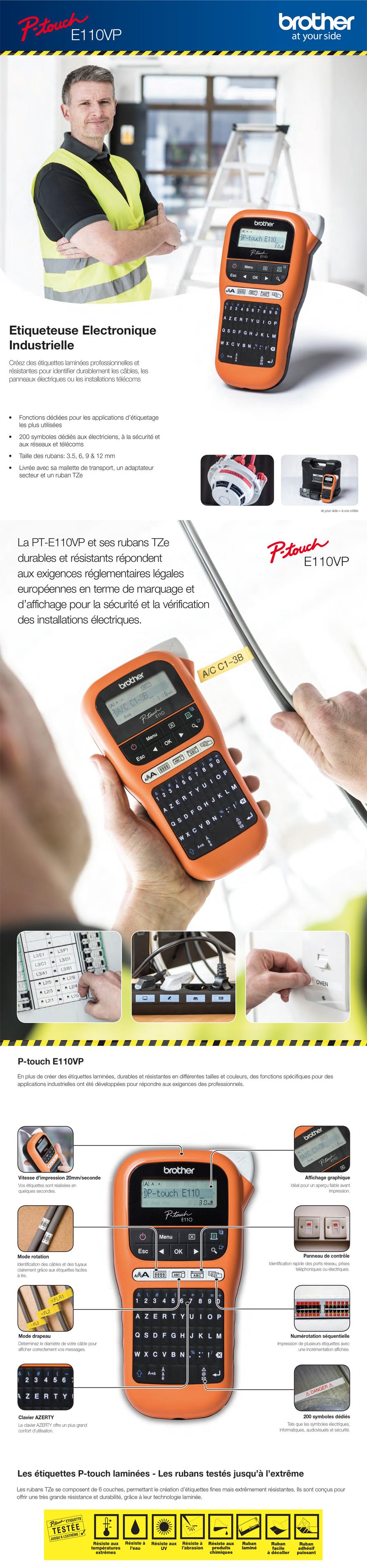 Etiqueteuse professionnelle Maroc portable AZERTY Brother - PT-E110VP